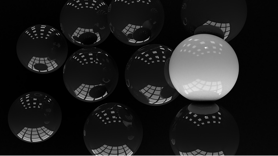 Spheres, Abstract, Black, White, Glossy