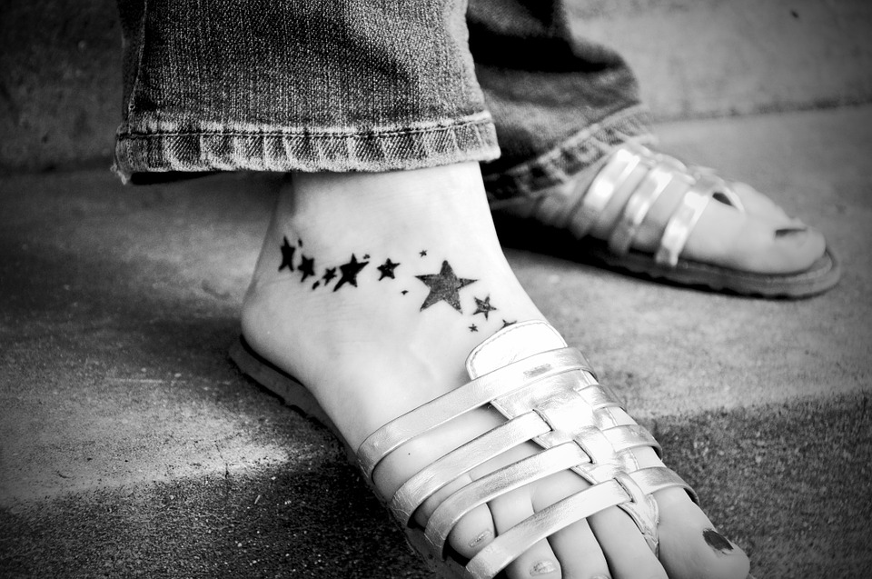 Tattoo, Foot, Skin, Black And White, Stars, Black