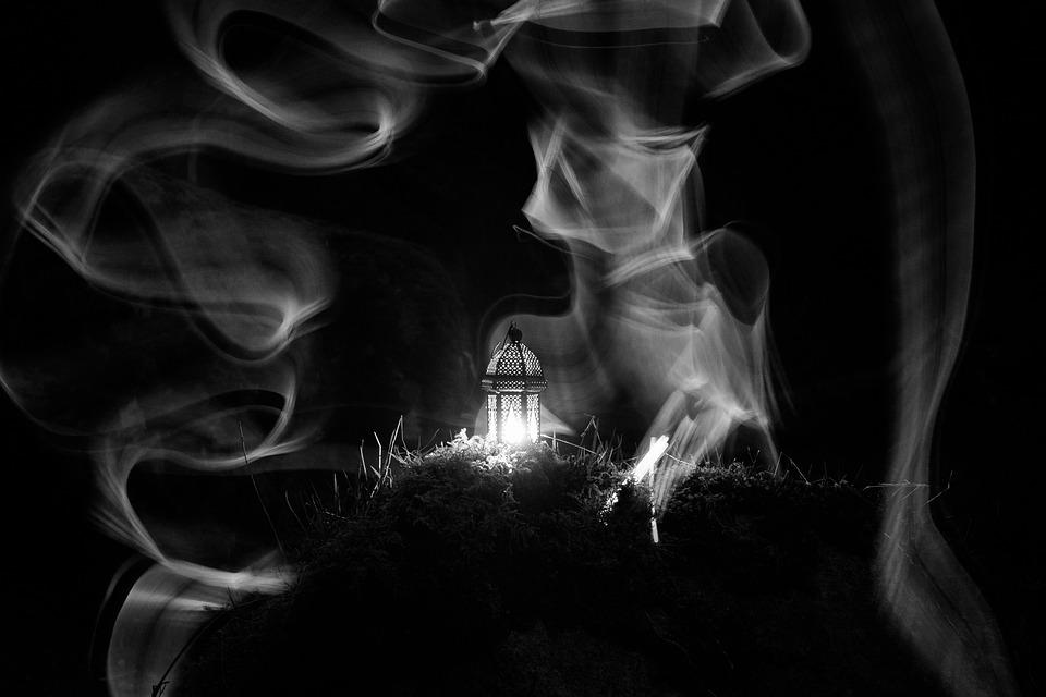 Lantern, Candle, Light, Slow, Black White, Outdoors
