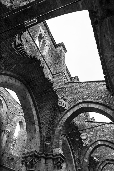 Church, Cathedral, Ruin, Black White