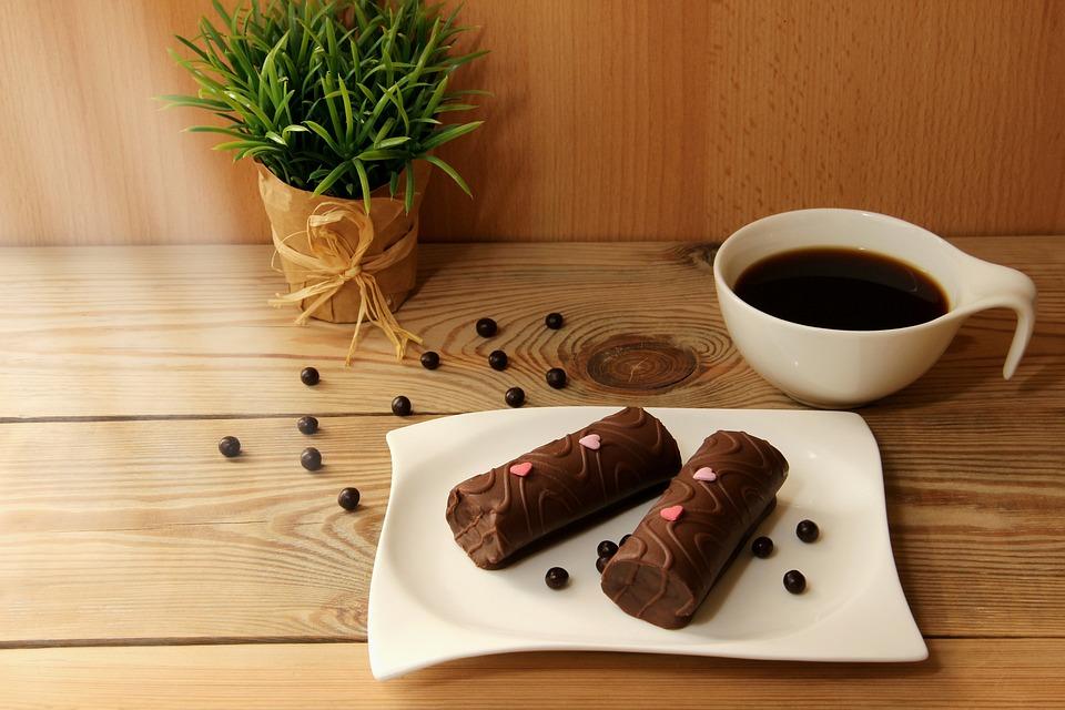 Coffee, Coffee Cup, White, Black, Cake, Chocolate Cake
