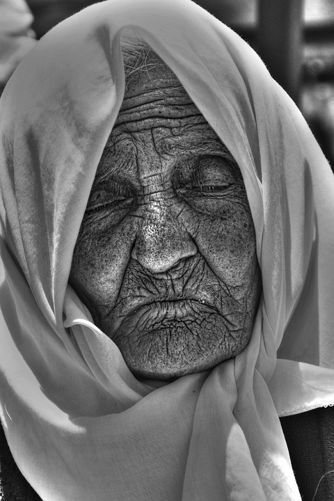 Old, Fold, Live, Black White, Portrait, Face, Wrinkled