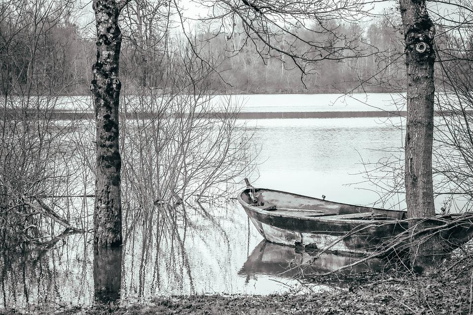 Boat, Winter, Pond, Grey, Calm, Field, Black-and-white
