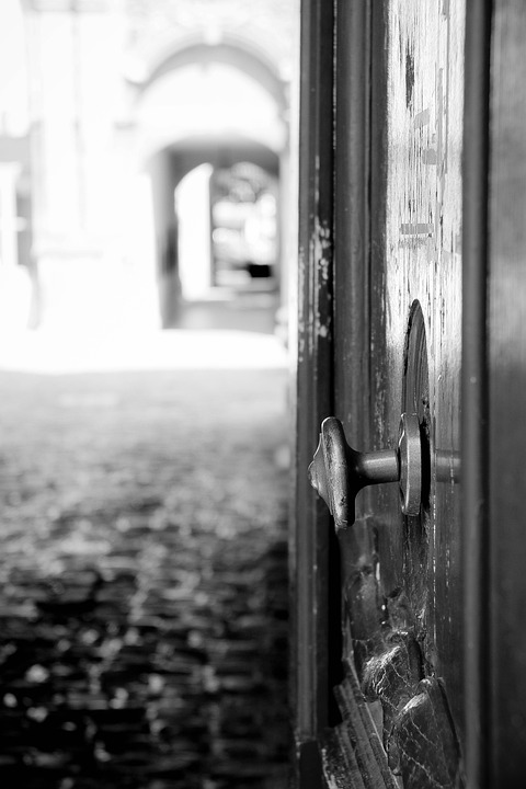 Door, Open, Lane, Paved, Former, Black-and-white, Entry