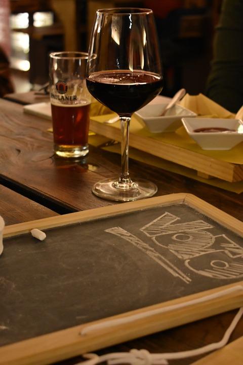 Wine, Beer, Blackboard, Pub