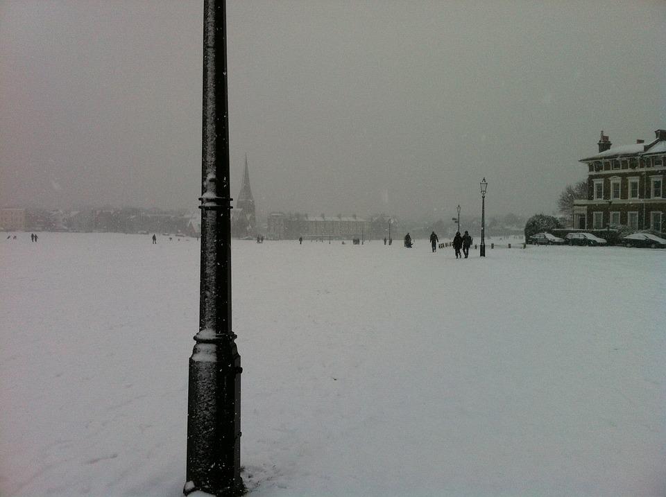 Snow, Blackheath, Greenwich, Lamp Post, Landscape