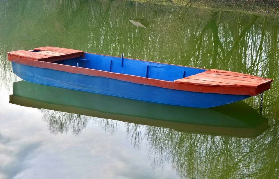 Boat, Water, Blue-red, Lake, Pomd, Wood, Blank