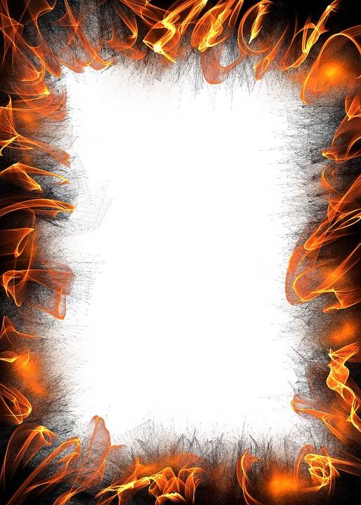 Paper, White, Blank, Border, Frame, Background, Fire