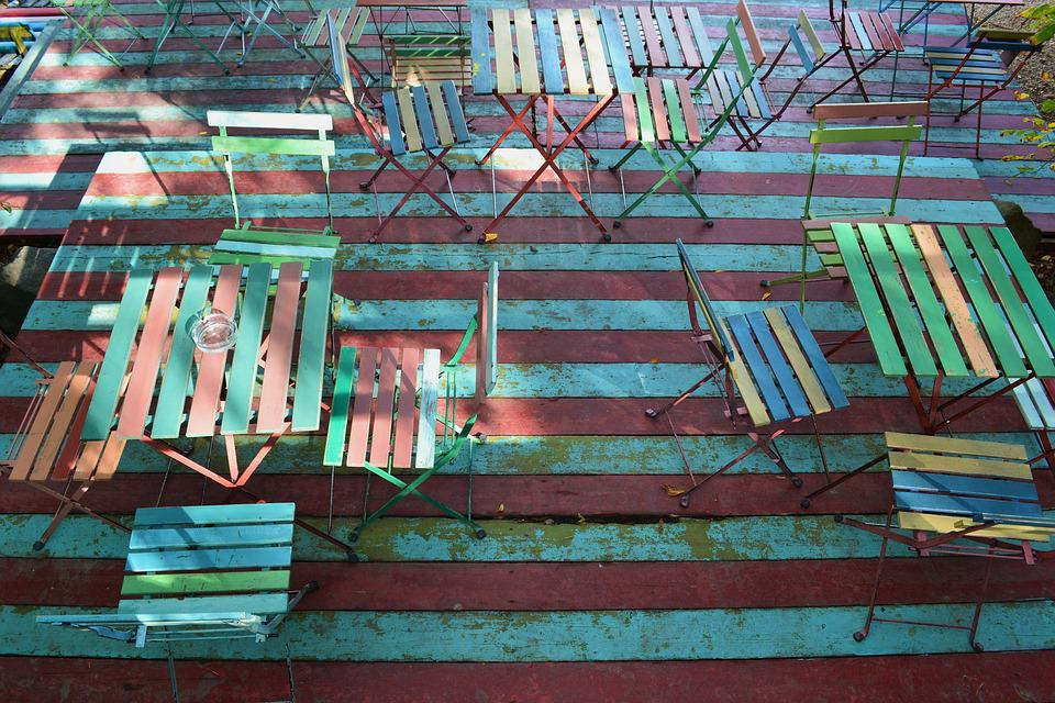 Terrace, Tables, Chairs, Blank, Color, Outdoor