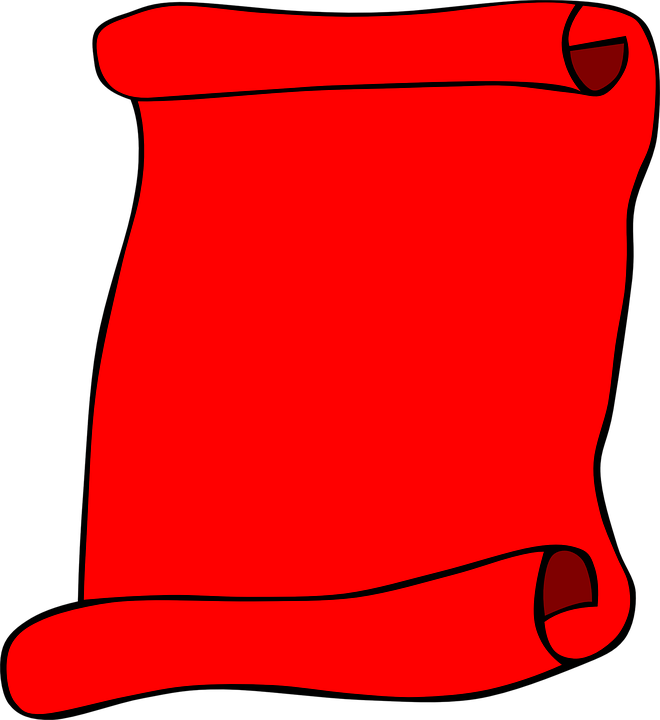 Scroll, Paper, Blank, Red, Info, Invitation, Red Paper