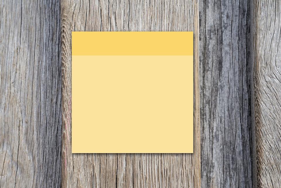 Post It, Yellow, Wood, Woods, Blank, Board