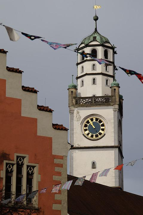 Blaser Tower, Tower, Ravensburg, Clock Tower, Sky, Blue