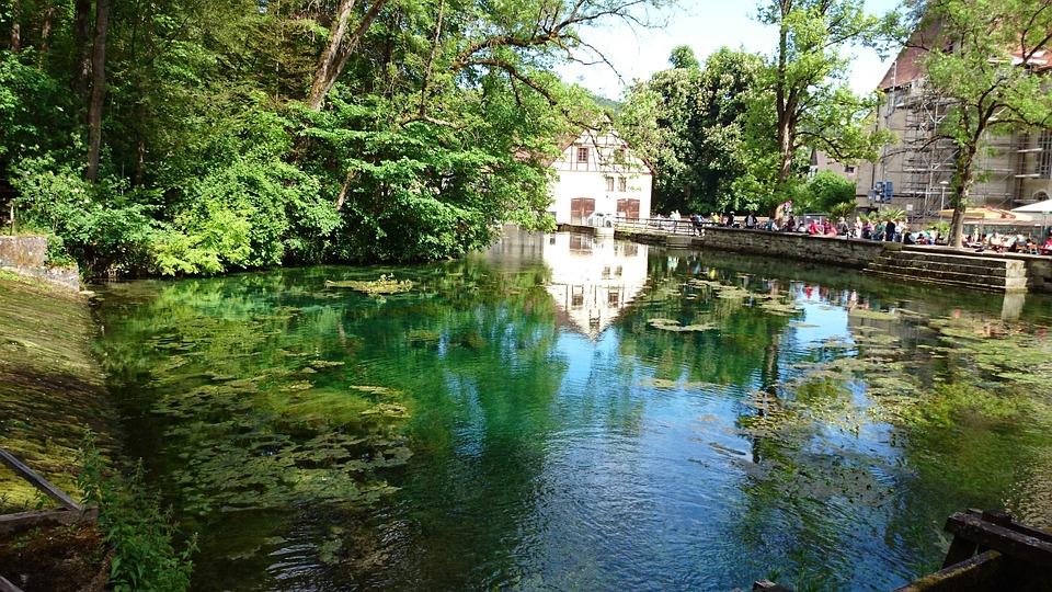 Blautopf, Water, Mirroring, Trees, Blaubeuren