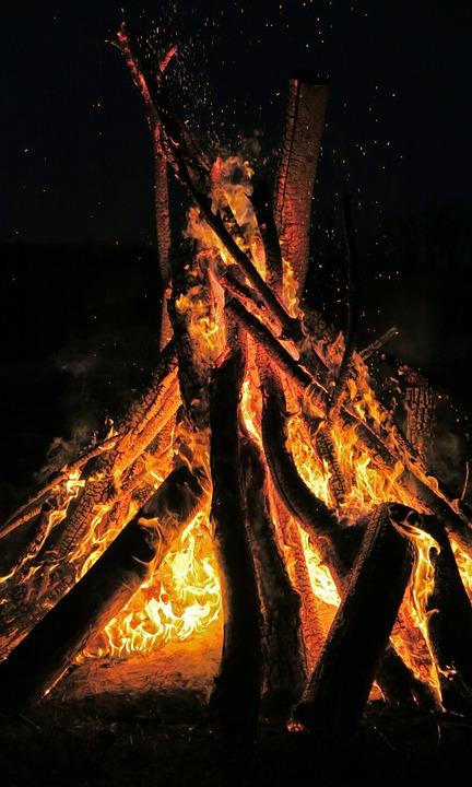 Fire, Bonfire, Flame, Night, Intense, Blaze, Orange