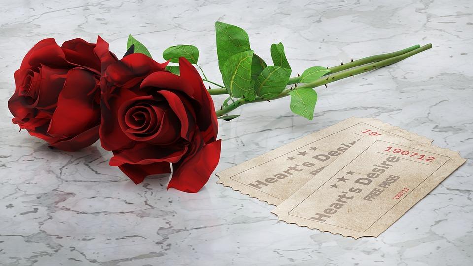 Red Roses, Cards, Heart's Desire, 3d, Blender