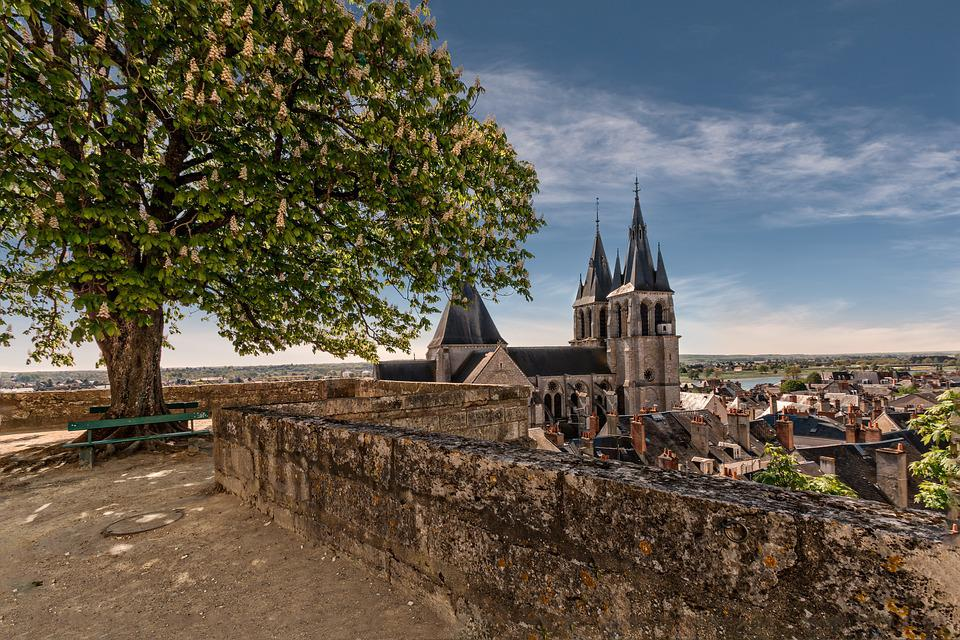 Blois, Landscape, France, Church, Wall, Perspective