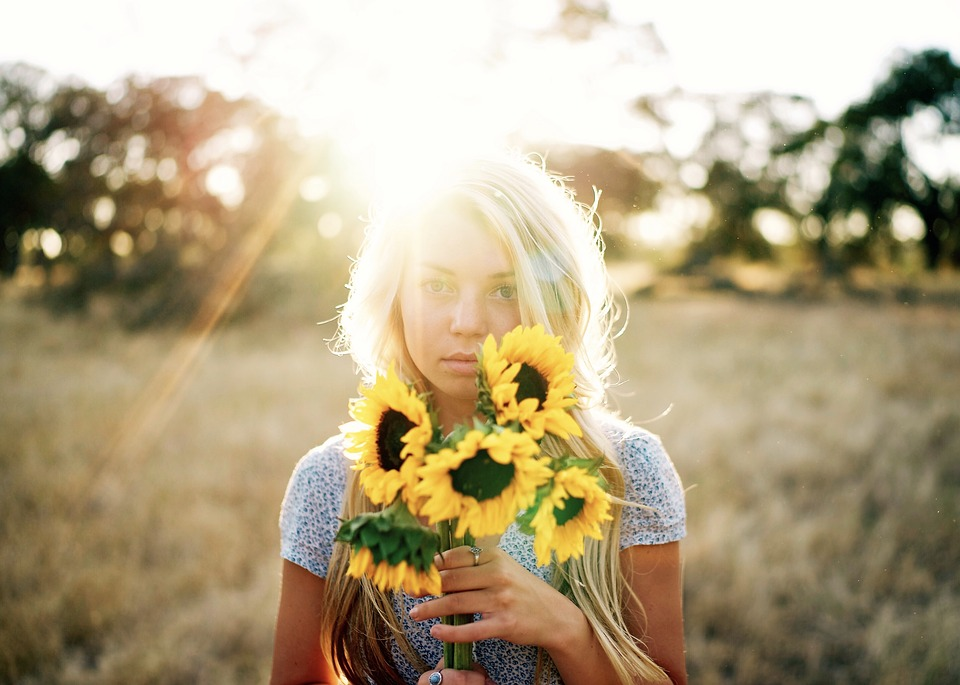 Beautiful, Blond, Blonde, Field, Flowers, Girl