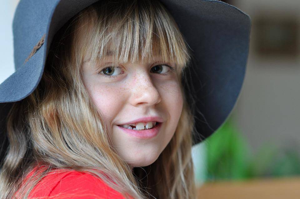 Child, Girl, Face, Smile, Happy, Human, Blond, Hat