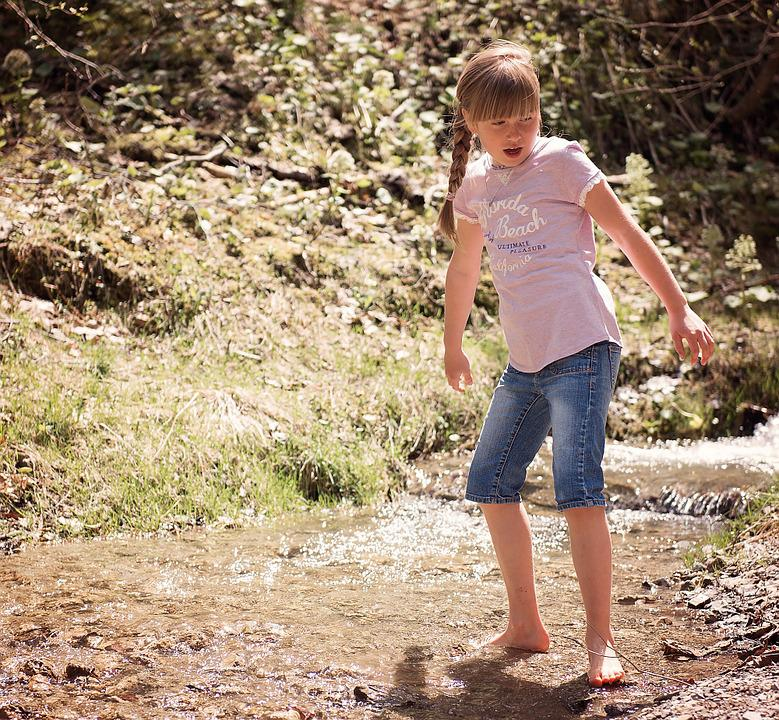 Human, Child, Girl, Blond, Bach, Waters, Water