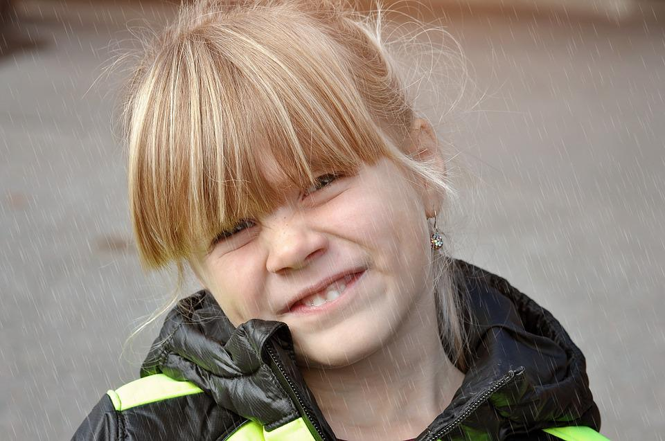 Child, Girl, Face, Blond, Out, Rain