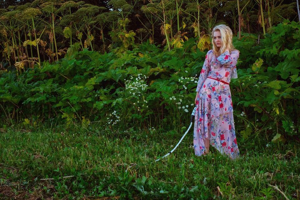Girl, Summer, Hogweed, Nature, Blonde, Whip, Dress