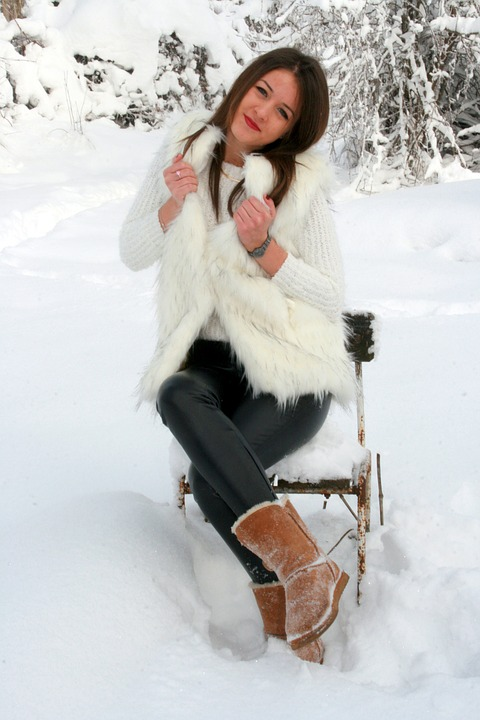 Girl, Snow, Chair, White, Feerie, Winter, Blonde