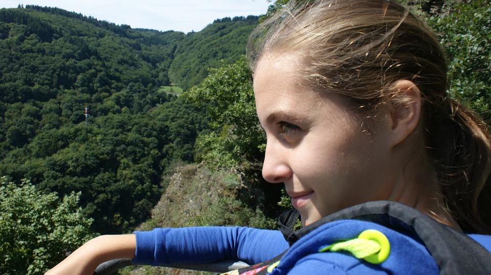 Girl, Mountains, Closeup, Contrast, Vest, Blonde