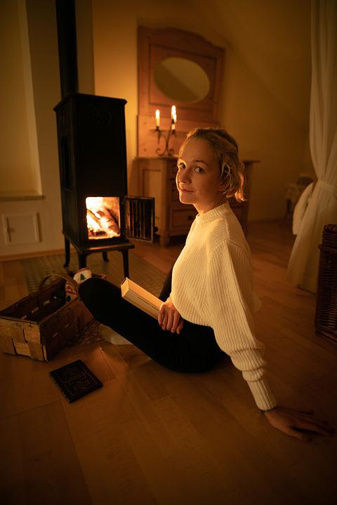 Blonde Girl, Fireplace, Tile Stove, Cozy, Wooden, Room