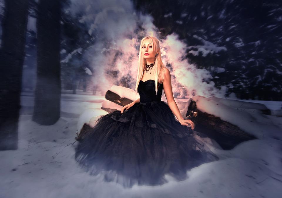 Model, Snow, Girl, Winter, Forest, Black Dress, Blonde