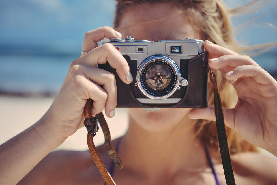 Blonde, Girl, Taking, Photo, Photography, Vintage