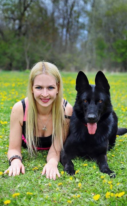 Blonde Woman, Black, German Shepherd, Dog, Friendship