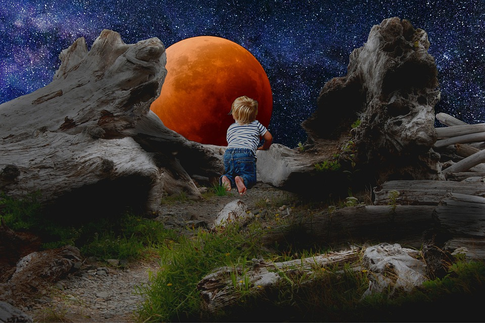 Full Moon, Blood Moon, Red Moon, Lunar Eclipse, Child