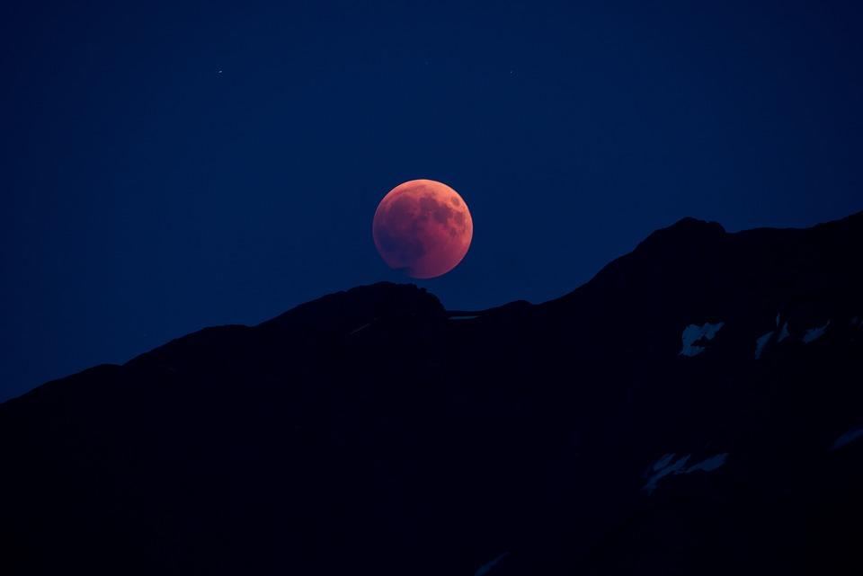 Night Photograph, Full Moon, Blood Moon, Lunar Eclipse