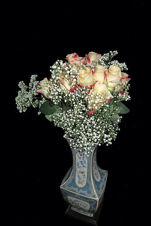 Flowers, Roses, Vase, Pink Flower, Rose, Bloom, Color
