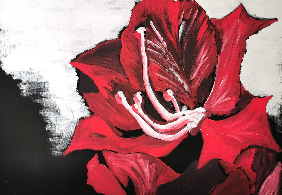Painting, Flower, Red, Art, Image, Blossom, Bloom