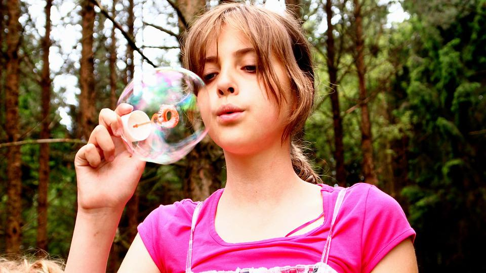 free photo blow bubbles face fir tree forest happy pink girl max pixel