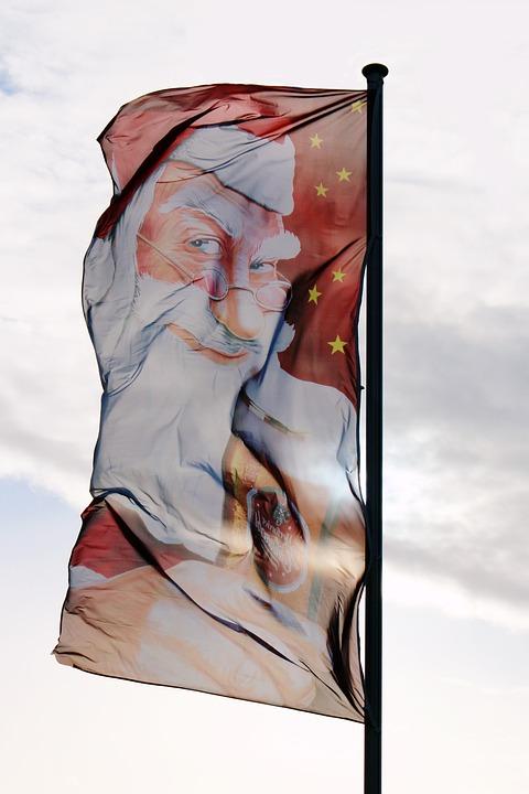 Flag, Santa Claus, Christmas, Nicholas, Wind, Blow, Wag