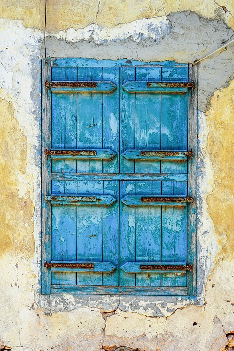 Window, Wooden, Blue, Old, Aged, Weathered, Rusty, Wall