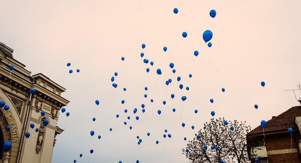 Balloons, Blue, Sky, Air, Flying, Helium, Outdoors