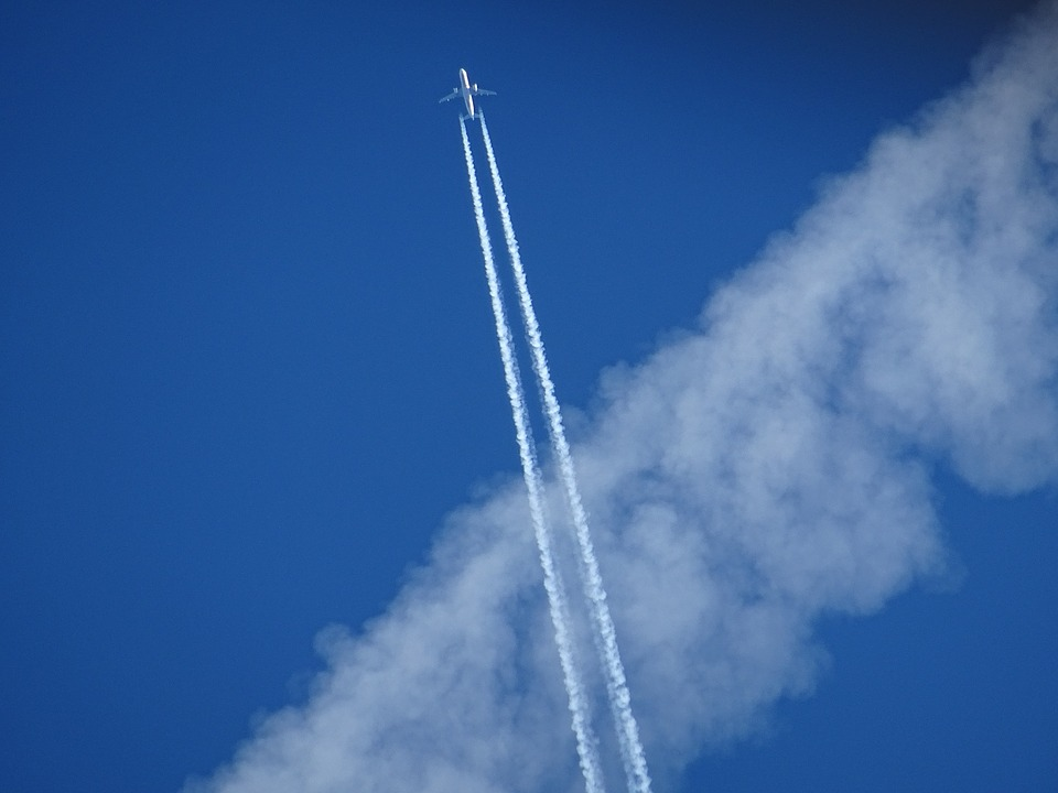 Aircraft, Contrail, Sky, Blue, Two Spotlights, Engine