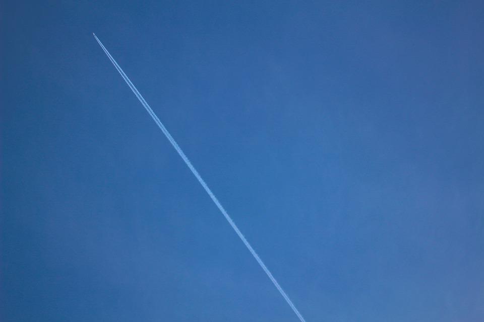 Airplane, Contrails, Blue