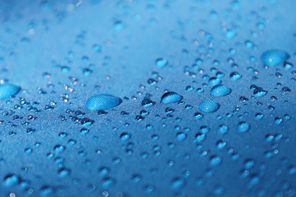 Drops, Blue Background, Raindrops