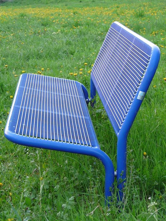 Bank, Garden Bench, Sit, Rest, Grass, Blue