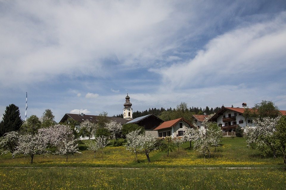 Village, Spring, Baroque, Church, Bavaria, Sky, Blue