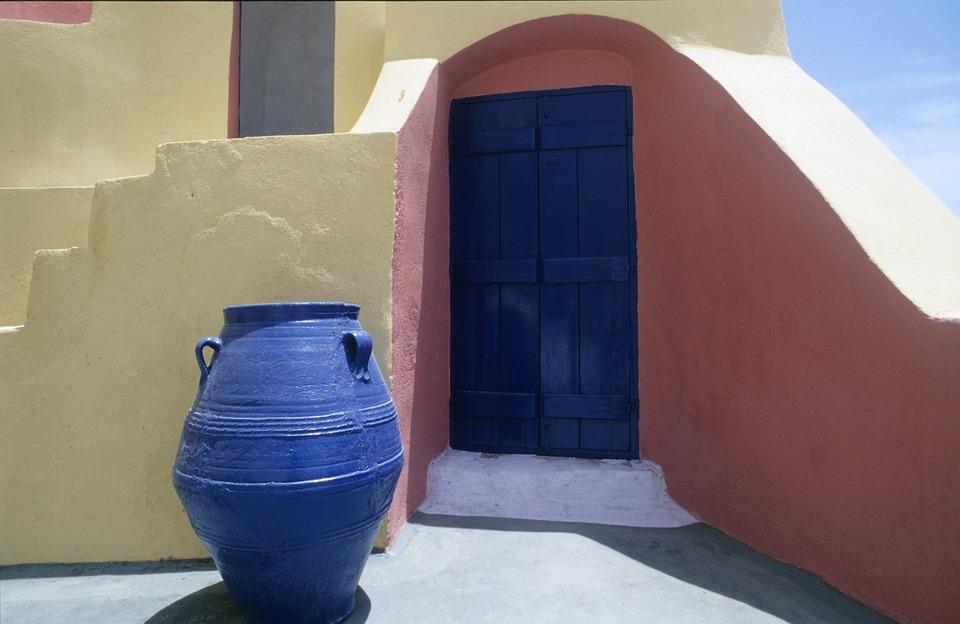 Greece, Vascular, Blue, Building