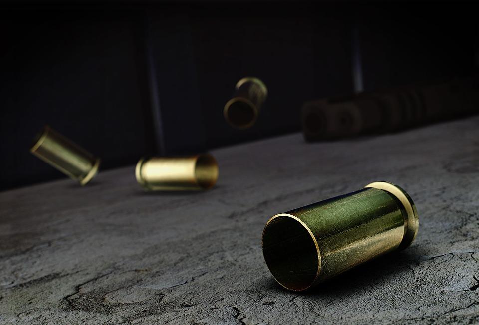 Casings, Bullets, Rounds, Pistol, Concrete, Blue, Shell