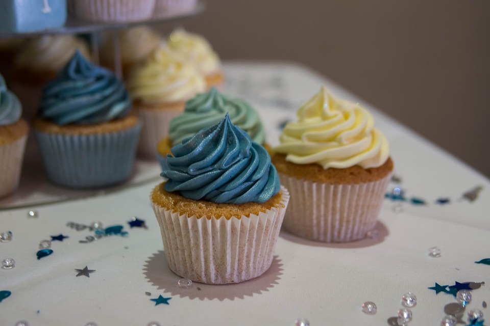 Cupcake, Blue Cupcake, Blue Cake, Christening, Snack