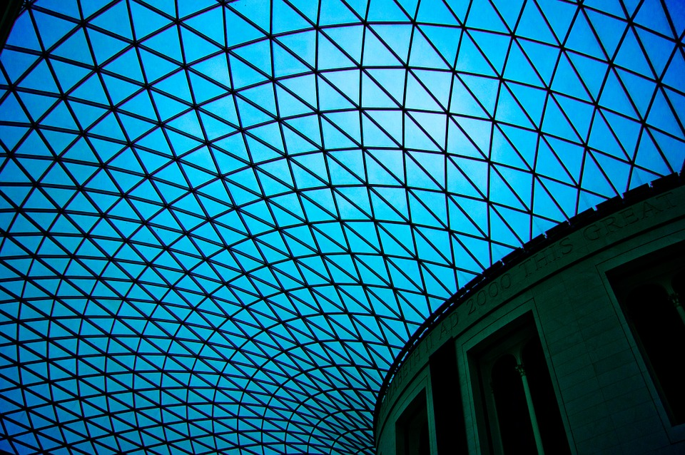 London, Museum, Blue, Ceiling, Architecture, Structure