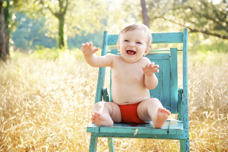 Baby, Sitting, Smiling, Happy, Boy, Outdoor, Blue Chair