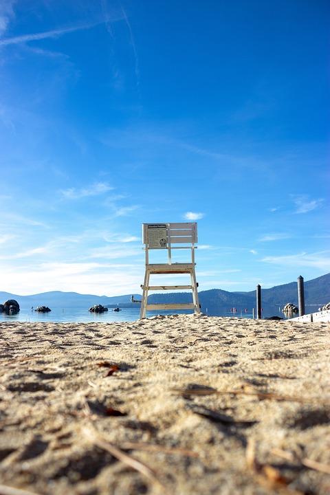Chair, Beach, Lake, Tahoe, Blue, Sea, Nevada, Fall